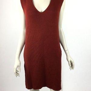 Massimo Dutti Womens Large Brick Red Knit Dress